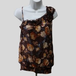 MINE floral top ruffle blouse L sleeveless